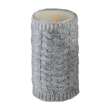Allstate 6' Gray Faux Sweater Wrapped Flameless Pillar Candle - Battery Operated