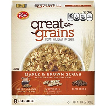 2 Pack - Post Great Grains Maple & Brown Sugar Instant Multigrain Hot Cereal (each box contains 8 pouches)