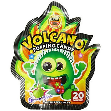 Family Volcano Popping Candy, Green Apple, 1.6 Ounce (Pack of 24)