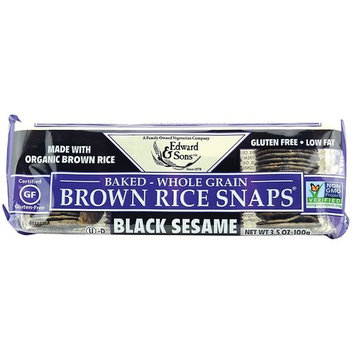 Brown Rice Snaps, Black Sesame with Organic Brown Rice, 3.5-Ounce Packs