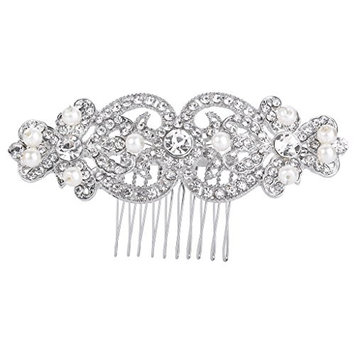FANZE Women's Austrian Crystal Cream Simulated Pearl Heart Shape Flower Vine Romantic Bridal Side Comb