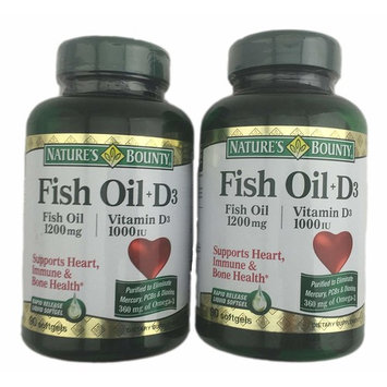 2-Pack Natures Bounty Fish Oil (1200 mg) Plus Vitamin D3 (1000 IU) 90 Rapid Release Softgels (180 softgels total)