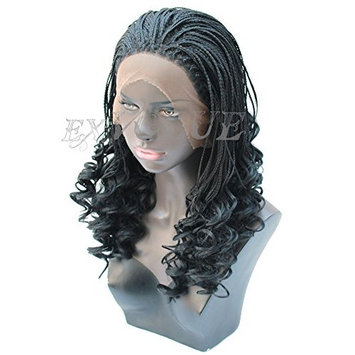 Exvogue Beauty Micro Braided Wigs for Women Lace Front Synthetic Hair Braids Wig Natural Hairline Full Thick Off Black #1B Color 16 Inches