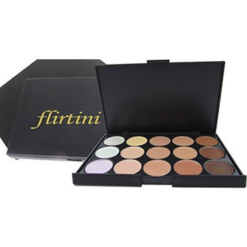 FLIRTINI 3D Look Cream Foundation and Camouflage Concealer 15 color makeup palette. Versatile uses for Cheeks,Lips,and Eyes by ML Collection