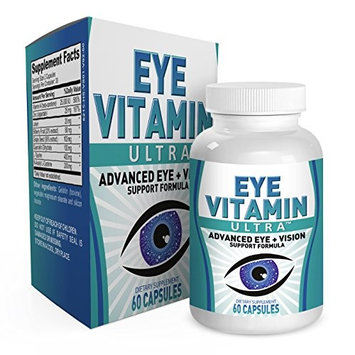 Eye Vitamin Ultra: Eye Health Supplements/Vitamins - 60 Capsules - Eye Health Formula with Lutein and Bilberry Extract