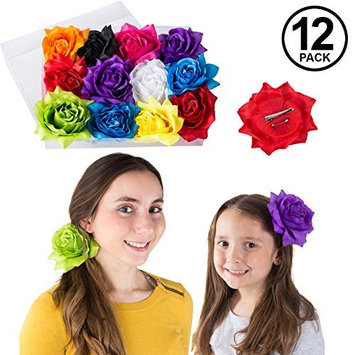 Barrettes for Girls - Flower Hair Clips for Women - Multi Pk Assorted Hair Accessory by CoverYourHair (12 Pack Colorful Flower Clips)