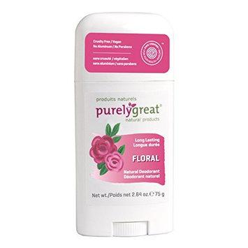 Purelygreat Natural Deodorant Stick - Floral - EWG Verified - Vegan, Cruelty Free - No Aluminum, No Parabens - Essential Oils