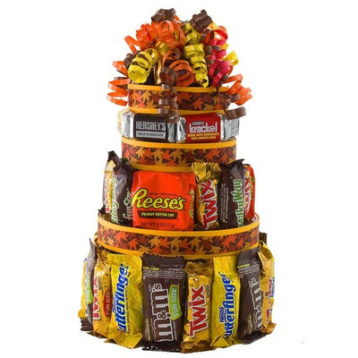 Autumn Treats Candy Cake gift basket