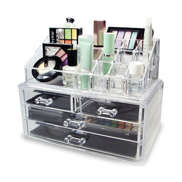 Multifunction Acrylic 4-Drawer Style Makeup Cosmetics Jewelry Storage Box Case Rack Organizer