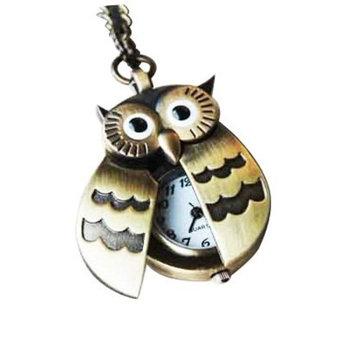 TOOGOO Flappy Wings Owl Locket Watch Necklace