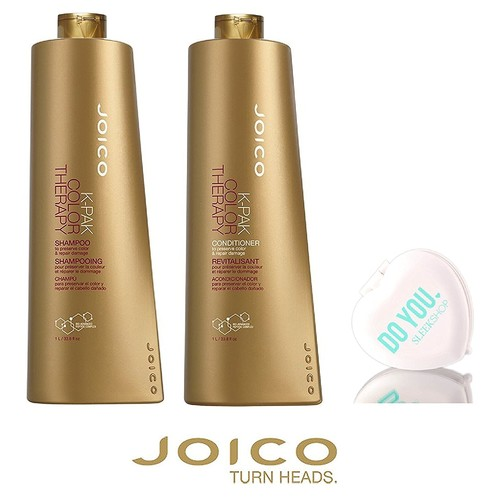 Joico K-Pak Color Therapy Shampoo & Conditioner DUO SET - to preserve color & repair damage (with Sleek Compact Mirror)