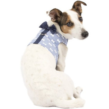 SimplyDog Cambray White Bone Bow Tie Wrap Harness