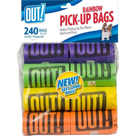OUT! Rainbow Dog Waste Bags, 240ct