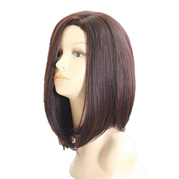 DAYISS Women Bob Curly Straight Full Wig Cosplay Side Part Bangs Heat Resistant (dark brown)