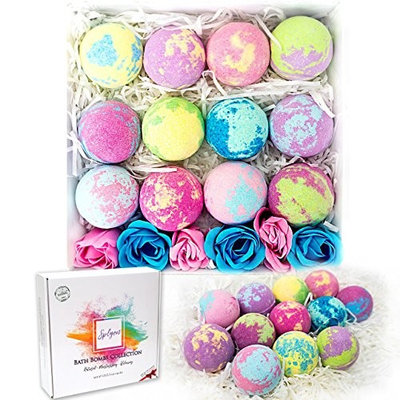 Bath Bombs Moisturizing Set of 12 Gift Pack, a Free Gift of 6 Rose Soaps inside, Handmade XL 3.5oz Individually Wrapped Jumbo Essential Oil Fizzy Unicorn Eggs, Scented Detox Fizz Balls