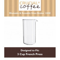 Crucial Coffee 3 Cup Universal French Press Glass Beaker Fits Bodum