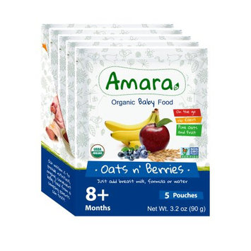 Amara Stage 2 Oats n Berries, Organic Baby Food Better for Baby, Easy for You. (Pack of 5)