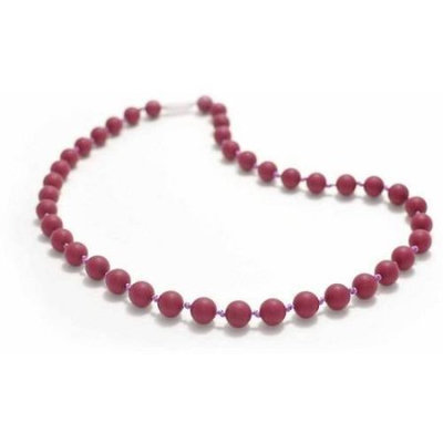 Bitey Beads Classic Silicone Teething Nursing Necklace - Very Berry