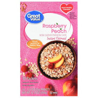 Great Value Instant Oatmeal, Raspberry Peach, 10 Count