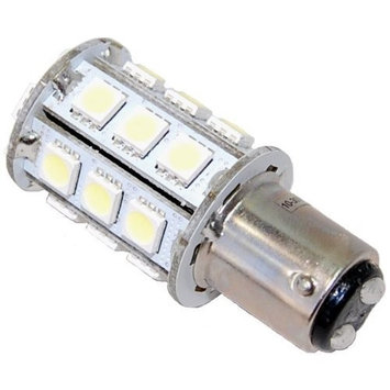 HQRP Ba15d Bayonet Base 24LEDs Dual Contact SMD LED Marine Boat Bulb for 1154 2057 2357 2397 3497 1016 1034 7528 replacement Warm White 12-24V DC Light plus HQRP UV Meter