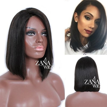 ZANA Unprocessed Brazilian Virgin Human Hair Bob Wigs for African American Women Short Lace Front Wig with Baby Hair Side Part