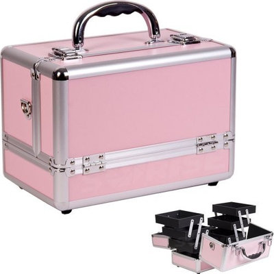 10 inch Pink w/Silver Trim Aluminum 6 Extended Trays Professional Makeup Carry on Tote Cosmetic Case Travel Beauty Tool Organizer + Shoulder Strap