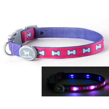 Dog-e-glow Light Up LED Dog Collar - Patented Light Up Durable Glowing Collar for Puppies and Dogs - by Dog e Glow (Pink Bones, Medium 10
