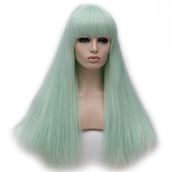 Amback 65cm Long Straight Cosplay Costume Wig Silver Flat Bangs for Women