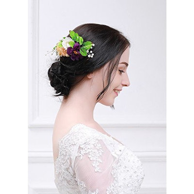 Kercisbeauty Lvory Burgundy Hair Comb for Girl Flower Comb for Women Flower for Hair Spring Wedding Romantic Hair Comb Bride Hair Comb Spring Hair Comb