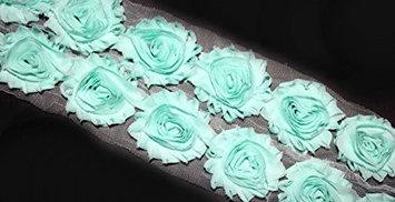 (28 pieces) JLIKA Pastel Green Shabby Chiffon Fabric Flowers 2.5' Shabby Rose Trim 2 yards (Pack of 50)