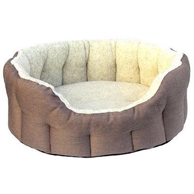 P&L SUPERIOR PET BEDS LTD Premium Oval Drop Fronted Heavy Duty Basket Weave Fleece Lined Softee Bed, Medium, 61 x 51 x 22 cm, Mink/Oatmeal [Medium]