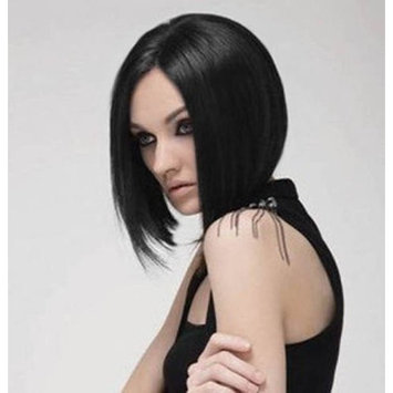 SeraphicWig Realistic Looking Black Bob Wigs For Women Glueless Short Straight Lace Front Wig Synthetic Heat Resistant Fiber Hair Half Hand Tied 10 inches