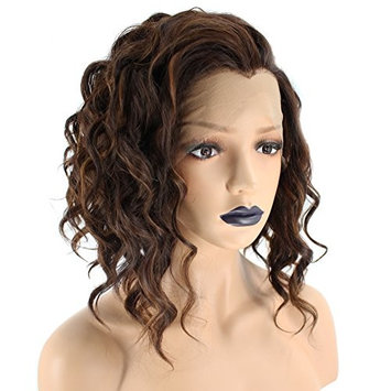 Anogol Hair Cap+Women's Short Curly Bob Ombre Brown Lace Front Wig With Widow's Peak Synthetic Hair