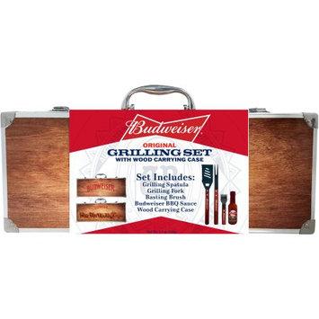 Budweiser Original Grilling Set With Wood Carving Case, 5.5 oz