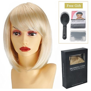 GEX Women's Synthetic Wig Straight Bob Kanekalon Girls Fiber Full Wigs Like Real Human Hair for Daily Party Blonde 12