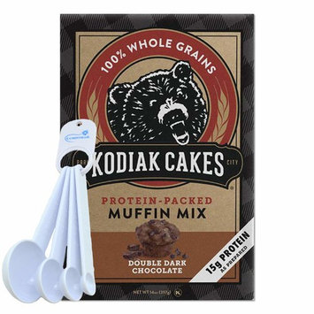 Kodiak Cakes Muffin Mix, Double Dark Chocolate, Protein-Packed Whole Grains - 14 ounce bundle with Lumintrail Measuring Spoons