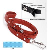 Rockin Doggie Rockinft Doggie 844587013288 .75 in. x 5ft Leather Leash Plain - Blue