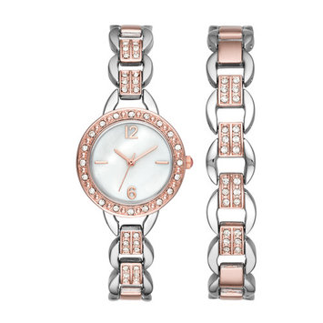 Ladies Touch of Rose Gold Bracelet Watch Set