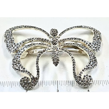 Crystal Hair Barrette With Silver Color Metal Clip