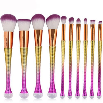 Becoler Mermaid Foundation Eyeshadow Face Brushes 10 Pcs