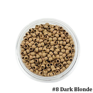 PARAHAIR 1000 Pcs 2.5mm Nano Rings Beads Loops for Nano Hair Extensions Dark Blonde(#8)