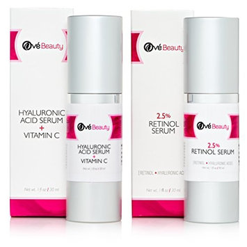 Retinol 2.5% Face Serum and Hyaluronic Acid Vitamin C Serum Gift Set | Best Face Rejuvenation Treatment Kit for Fine Lines, Wrinkles and Age Spots