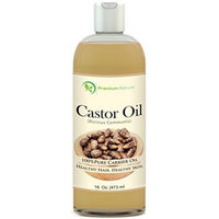 Castor Oil 16 oz - Carrier Oil, Stimulates Hair Growth, Conditions Hair, Heals Inflamed Skin, Nourishes & Moisturizes Skin, Fades Blemishes - By Premium Nature