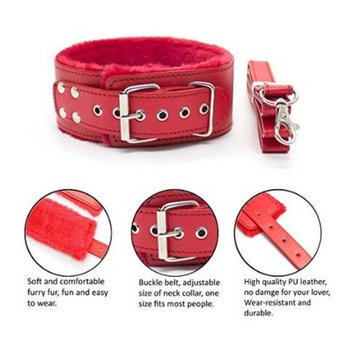 2018 New Collar with Leash PU Leather Luxury Fur Costume Kits [Red]