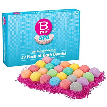 Spa Bath Bombs Gift Set - The Scents Collection - Pack of 24 Colorful Individually Wrapped 80g Bath Bomb Fizzies in a Variety of Fruity, Floral & Tropical Fragrances - Women, Teens & Kids 6+