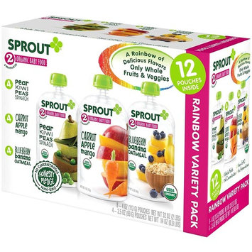 Sprout Organic Baby Food Stage 2 Pouches Variety Pack, Pear Kiwi Peas Spinach, Carrot Apple Mango, and Blueberry Banana Oatmeal, 12 Count