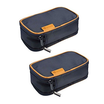 [2 PACK], JE Multi-Function Jewelry Travel Storage Case for Earring, Necklaces, Ring and Makeup Cosmetic Case [Blue]: Health & Personal Care