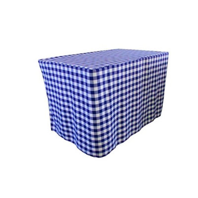 LA Linen TCcheck-fit-48x24x30-RoyalK50 Fitted Checkered Tablecloth White & Royal Blue - 48 x 24 x 30 in.
