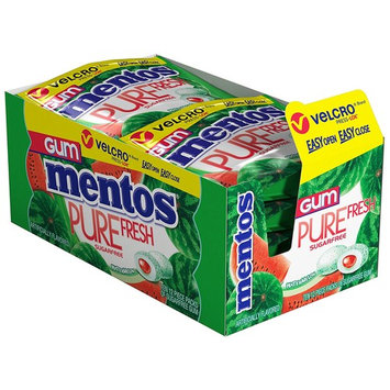 Mentos Pure Fresh Sugar-Free Chewing Gum with Xylitol, Watermelon, Non Melting, 12 Piece Resealable Pouch (Pack of 10)