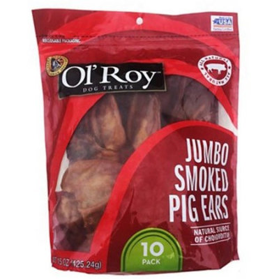 Ol' Roy Jumbo Smoked Pig Ears Chew Dog Treats, 10 Ct